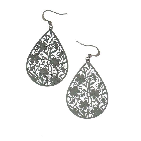 Shop PETA approved vegan brand LAVISHY's unique, beautiful & affordable light weight intricate filigree earrings feature lovely cherry blossom flower. A great gift for you or your girlfriend, wife, co-worker, friend & family. Wholesale available at www.lavishy.com with many unique & fun fashion accessories.