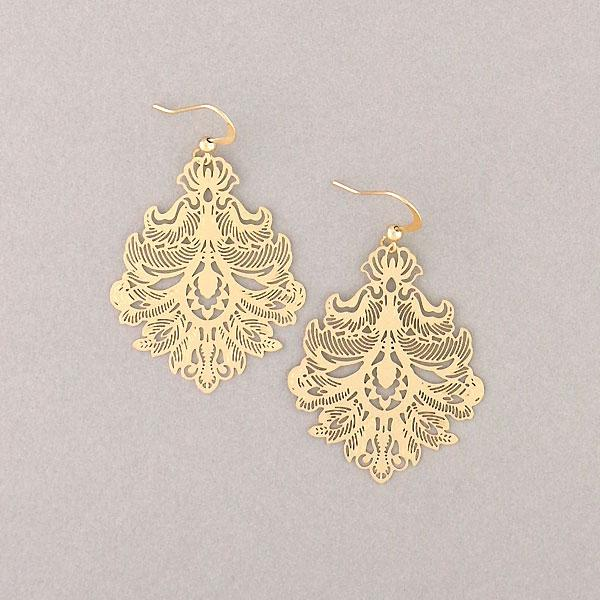 Shop PETA approved vegan brand LAVISHY's unique, beautiful & affordable light weight intricate filigree earrings inspired by French rococo pattern. A great gift for you or your girlfriend, wife, co-worker, friend & family. Wholesale available at www.lavishy.com with many unique & fun fashion accessories.
