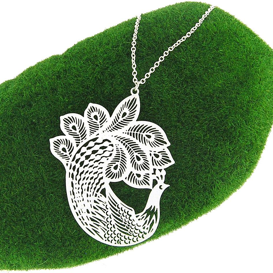 Shop PETA approved vegan brand LAVISHY's unique, beautiful & affordable light weight intricate peacock filigree necklace. A great gift for you or your girlfriend, wife, co-worker, friend & family. Wholesale available at www.lavishy.com with many unique & fun fashion accessories.