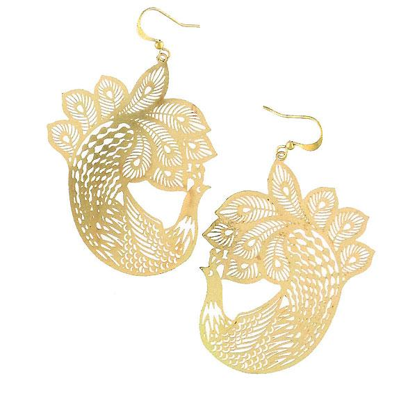 Shop PETA approved vegan brand LAVISHY's unique, beautiful & affordable light weight intricate peacock filigree earrings. A great gift for you or your girlfriend, wife, co-worker, friend & family. Wholesale available at www.lavishy.com with many unique & fun fashion accessories.