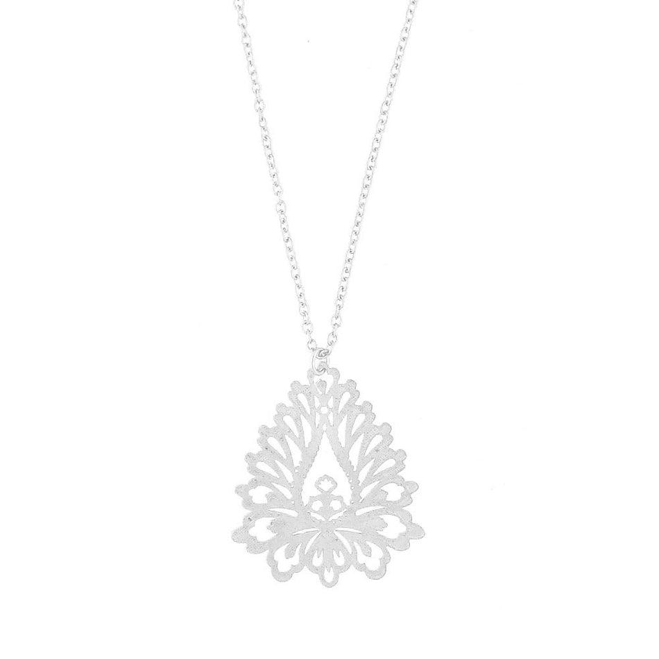 Shop PETA approved vegan brand LAVISHY's unique, beautiful & affordable light weight intricate filigree necklace inspired by lotus flower. A great gift for you or your girlfriend, wife, co-worker, friend & family. Wholesale available at www.lavishy.com with many unique & fun fashion accessories.