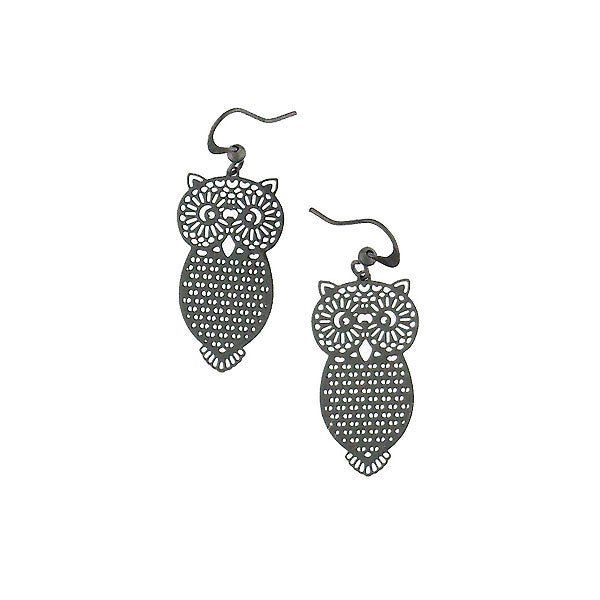 Shop PETA approved vegan brand LAVISHY's unique, beautiful & affordable light weight intricate owl filigree earrings. A great gift for you or your girlfriend, wife, co-worker, friend & family. Wholesale available at www.lavishy.com with many unique & fun fashion accessories.
