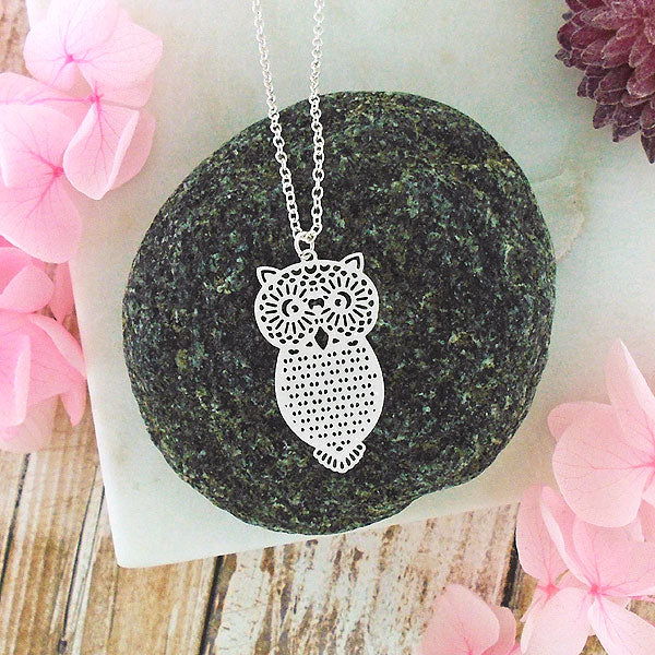 Shop PETA approved vegan brand LAVISHY's unique, beautiful & affordable light weight intricate owl filigree necklace. A great gift for you or your girlfriend, wife, co-worker, friend & family. Wholesale available at www.lavishy.com with many unique & fun fashion accessories.