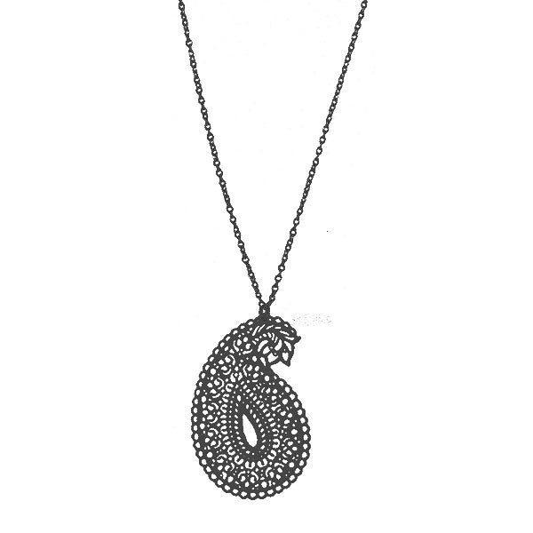 Shop PETA approved vegan brand LAVISHY's unique, beautiful & affordable light weight intricate filigree necklace feature paisley pattern. A great gift for you or your girlfriend, wife, co-worker, friend & family. Wholesale available at www.lavishy.com with many unique & fun fashion accessories.