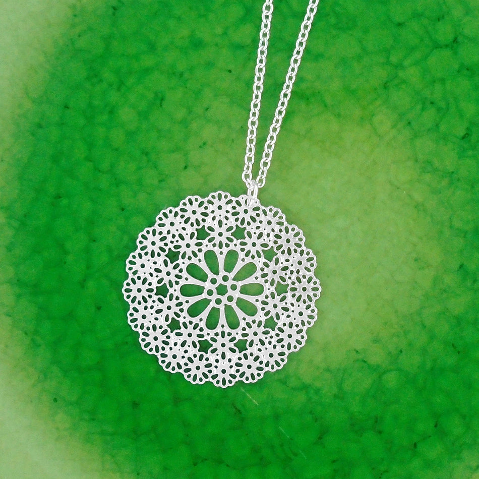 Shop PETA approved vegan brand LAVISHY's unique, beautiful & affordable light weight intricate filigree necklace feature delightful flower. A great gift for you or your girlfriend, wife, co-worker, friend & family. Wholesale available at www.lavishy.com with many unique & fun fashion accessories.