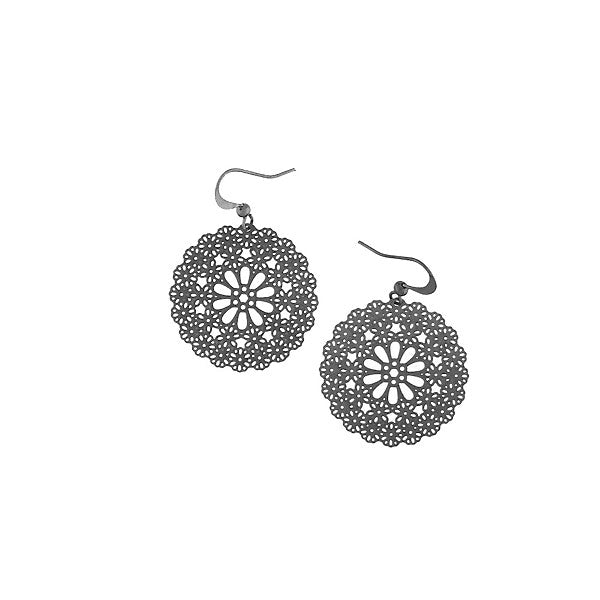 Shop PETA approved vegan brand LAVISHY's unique, beautiful & affordable light weight intricate filigree earrings feature delightful flower. A great gift for you or your girlfriend, wife, co-worker, friend & family. Wholesale available at www.lavishy.com with many unique & fun fashion accessories.