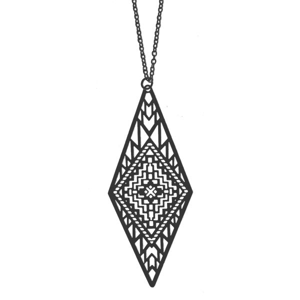 Shop PETA approved vegan brand LAVISHY's unique, beautiful & affordable light weight intricate Aztec pattern filigree necklace. A great gift for you or your girlfriend, wife, co-worker, friend & family. Wholesale available at www.lavishy.com with many unique & fun fashion accessories.
