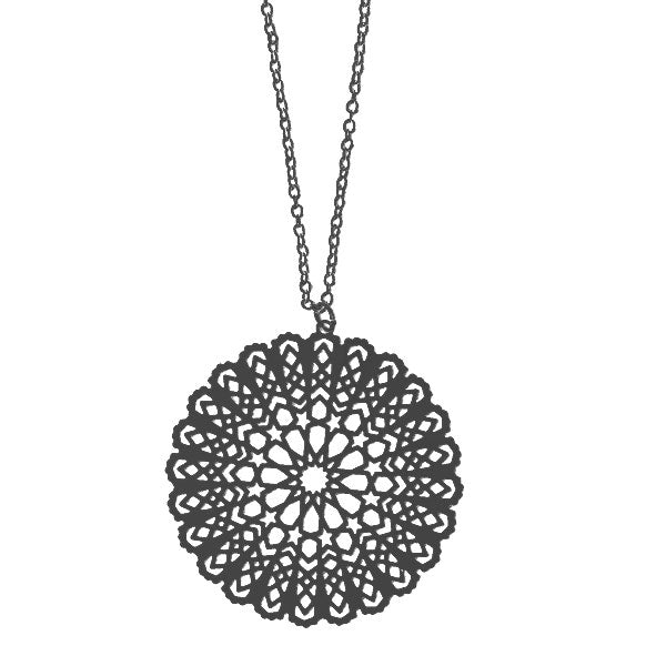 Shop PETA approved vegan brand LAVISHY's unique, beautiful & affordable light weight intricate Moroccan pattern filigree necklace. A great gift for you or your girlfriend, wife, co-worker, friend & family. Wholesale available at www.lavishy.com with many unique & fun fashion accessories.
