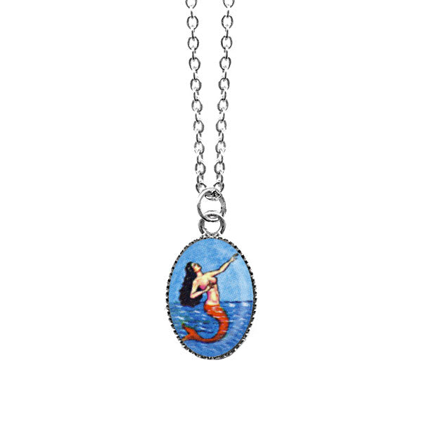 Shop LAVISHY's unique, handmade cute & dainty siren/mermaid necklace inspired by Mexican folk art print. A quirky & fun gift for you or your girlfriend, wife, co-worker, friend & family. Wholesale available at www.lavishy.com with many unique & fun fashion accessories.