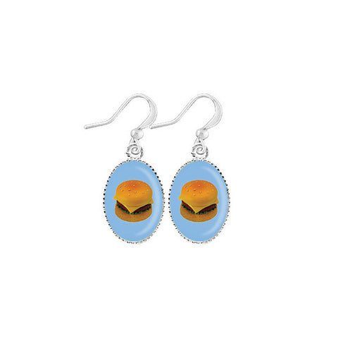 Online shopping for LAVISHY cute & dainty rhodium plated hamburger earrings. Fun to wear, make a playful gift for family & friends. Come with FREE gift box. Wholesale at www.lavishy.com for gift shop, clothing & fashion accessories boutique, book store in Canada, USA & worldwide since 2001.