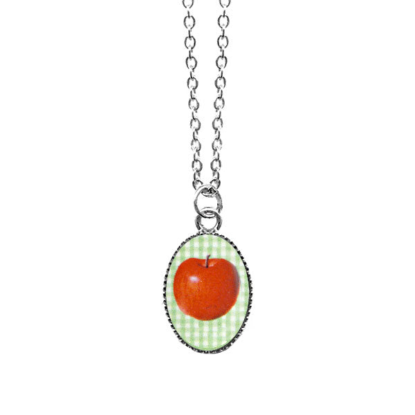 Online shopping for LAVISHY cute & dainty rhodium plated apple necklace. A quirky & fun gift for you or your girlfriend, wife, co-worker, teacher, friend & family. Wholesale available at www.lavishy.com with many unique & fun fashion accessories.