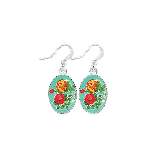 Shop LAVISHY's unique, handmade cute & dainty rose earrings inspired by Mexican folk art of rose flower print. A quirky & fun gift for you or your girlfriend, wife, co-worker, friend & family. Wholesale available at www.lavishy.com with many unique & fun fashion accessories.