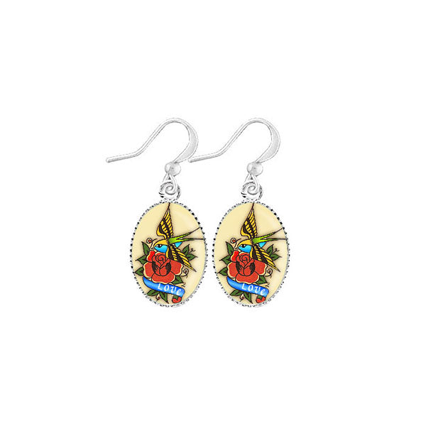 Shop LAVISHY's unique, handmade cute & dainty tattoo love bird earrings. A quirky & fun gift for you or your girlfriend, wife, co-worker, friend & family. Wholesale available at www.lavishy.com with many unique & fun fashion accessories.