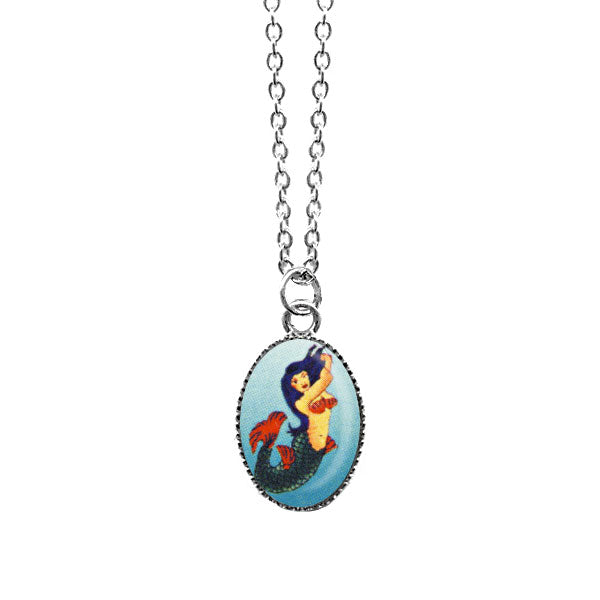 Shop LAVISHY's unique, handmade cute & dainty mermaid necklace inspired by Mexican folk art print. A quirky & fun gift for you or your girlfriend, wife, co-worker, friend & family. Wholesale available at www.lavishy.com with many unique & fun fashion accessories.