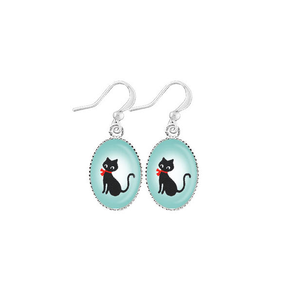 Online shopping for LAVISHY cute & dainty rhodium plated black cat earrings. Fun to wear, make a playful gift for family & friends. Come with FREE gift box. Wholesale at www.lavishy.com for gift shop, clothing & fashion accessories boutique, book store in Canada, USA & worldwide since 2001.