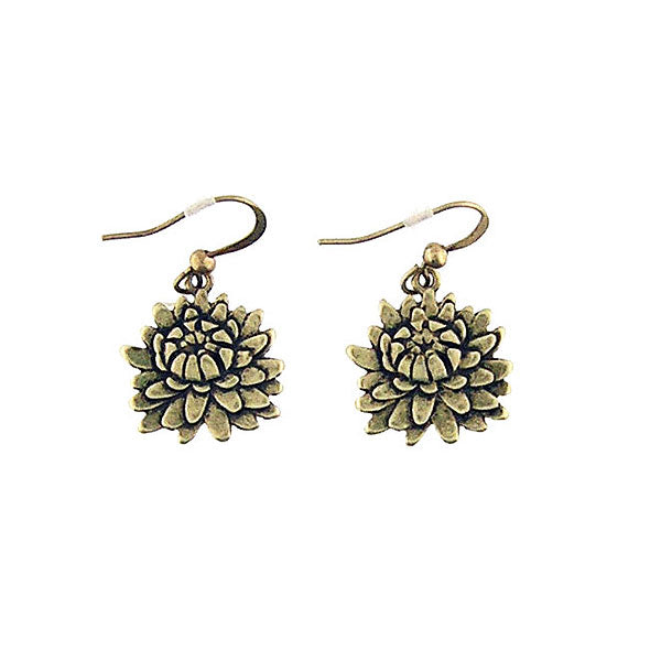 Shop LAVISHY vintage style chrysanthemum flower & strength earrings. Wholesale available at www.lavishy.com along with other unique & meaningful fashion jewelry that will make thoughtful gifts.