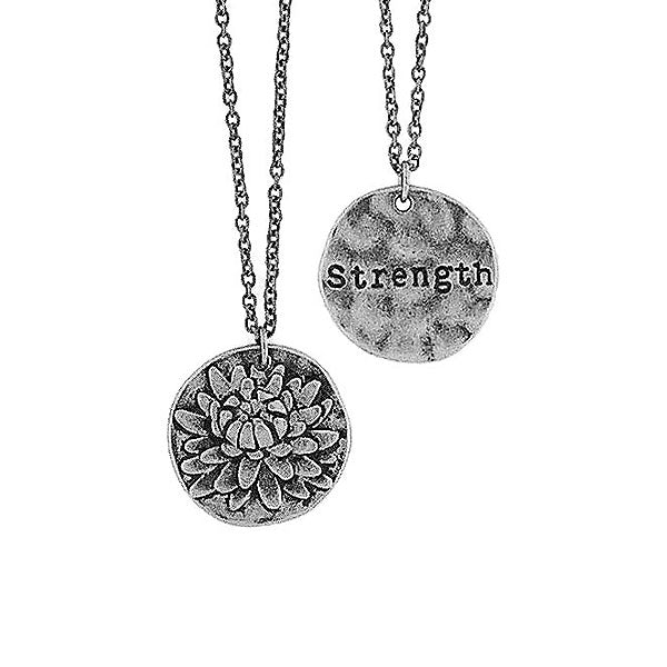 Shop LAVISHY handmade reversible chrysanthemum flower & strength pendant necklace. Wholesale available at www.lavishy.com