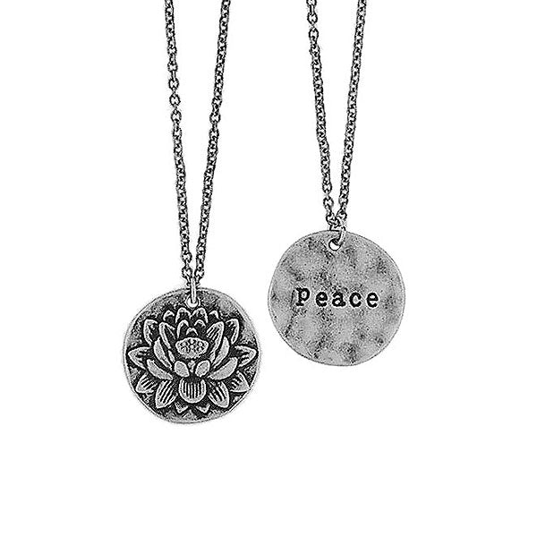 Shop LAVISHY handmade reversible lotus flower & peace pendant necklace. Wholesale available at www.lavishy.com