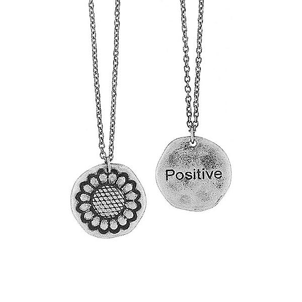Shop LAVISHY handmade reversible sunflower & positive pendant necklace. Wholesale available at www.lavishy.com