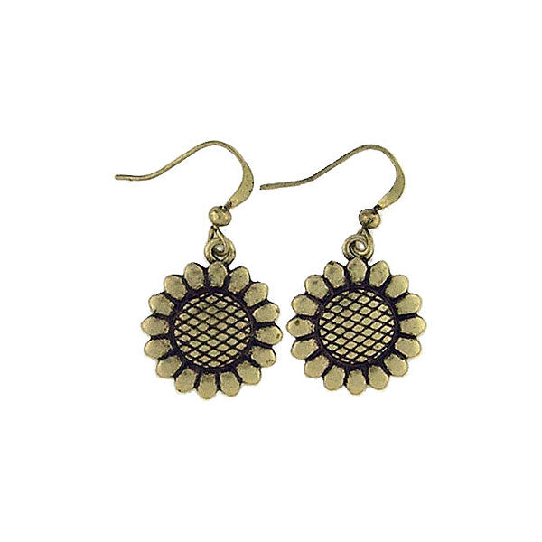 Shop LAVISHY handmade vintage style sunflower flower & positive earrings. Wholesale available at www.lavishy.com along with other unique & meaningful fashion jewelry that will make thoughtful gifts.