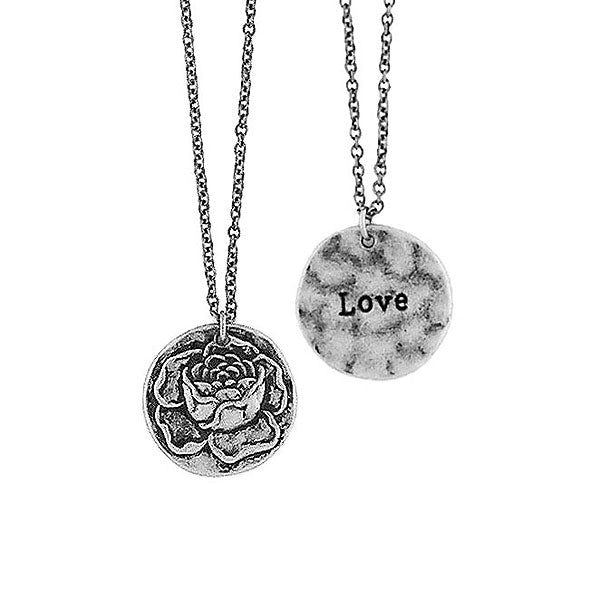 Shop LAVISHY handmade reversible rose flower & love pendant necklace. Wholesale available at www.lavishy.com