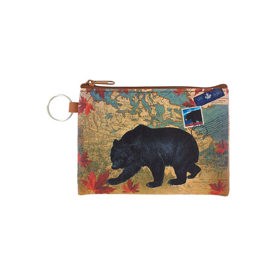 Shop LAVISHY Canada collection bear print vegan key ring coin purse. This product is available for wholesale to Canadian gift shops, boutiques & souvenir shops at www.lavishy.com designed by PETA approved vegan brand LAVISHY.