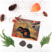 Online shopping for vegan brand LAVISHY's Canada collection vegan/faux leather key ring coin purse with vintage style print of Canadian beaver illustration on the Canada map background. Great for everyday use, cool gift for family & friends. Wholesale at www.lavishy.com for gift shop, boutique, souvenir store since 2001.