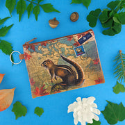 Online shopping for vegan brand LAVISHY's Canada collection vegan/faux leather key ring coin purse with vintage style print of Canadian chipmunk illustration on the Canada map background. Great for everyday use, cool gift for family & friends. Wholesale at www.lavishy.com for gift shop, boutique, souvenir store since 2001.