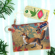 Online shopping for vegan brand LAVISHY's Canada collection vegan/faux leather key ring coin purse with vintage style print of Canadian fox illustration on the Canada map background. Great for everyday use, cool gift for family & friends. Wholesale at www.lavishy.com for gift shop, boutique, souvenir store since 2001.
