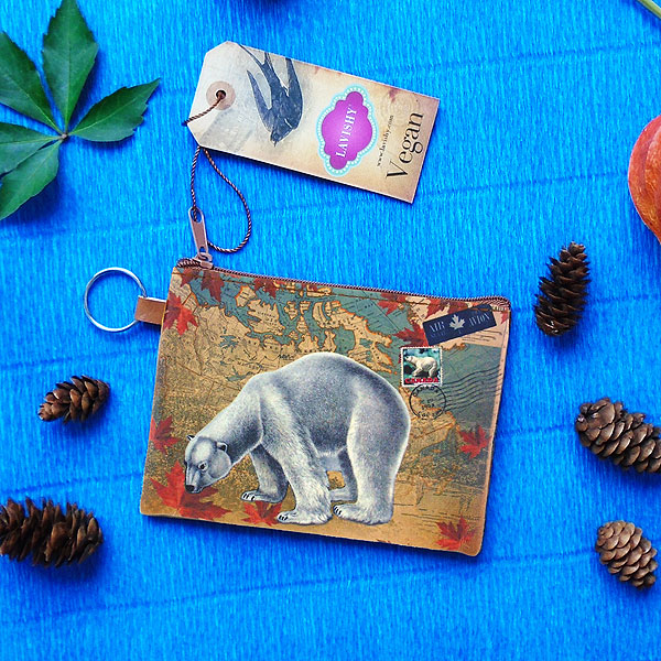 416-007: Polar bear of Canada unisex vegan coin purse