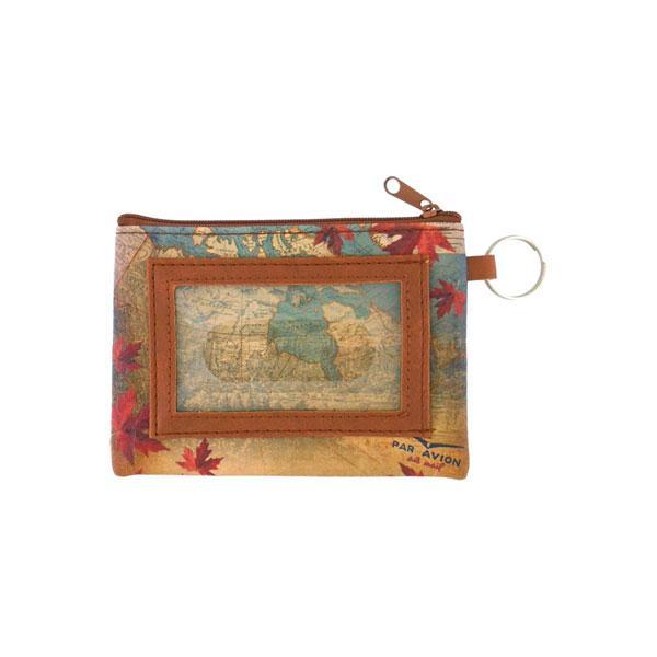 Online shopping for vegan brand LAVISHY's Canada collection vegan/faux leather key ring coin purse with vintage style print of Canadian moose illustration on the Canada map background. Great for everyday use, cool gift for family & friends. Wholesale at www.lavishy.com for gift shop, boutique, souvenir store since 2001.