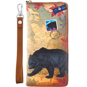 Online shopping for vegan brand LAVISHY's Canada collection vegan unisex vegan wristlet wallet with vintage style print of Canadian bear illustration on the Canada map background. Great for everyday use, cool gift for family & friends. Wholesale at www.lavishy.com for gift shop, boutique, souvenir store since 2001.