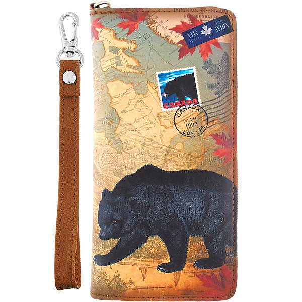 Shop vegan brand LAVISHY's cool vegan/faux leather wristlet wallet with vintage style Canadian bear illustration on the Canadian map background print. It's a great for everyday use & gift for traveler. Wholesale available at www.lavishy.com with other unique fashion accessories/souvenirs.