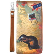 Shop vegan brand LAVISHY's cool vegan/faux leather wristlet wallet with vintage style Canadian beaver illustration on the Canadian map background print. It's a great for everyday use & gift for traveler. Wholesale available at www.lavishy.com with other unique fashion accessories/souvenirs.