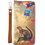 Shop vegan brand LAVISHY's cool vegan/faux leather wristlet wallet with vintage style Canadian chipmunk illustration on the Canadian map background print. It's a great for everyday use & gift for traveler. Wholesale available at www.lavishy.com with other unique fashion accessories/souvenirs.