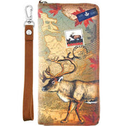 Shop vegan brand LAVISHY's cool vegan/faux leather wristlet wallet with vintage style Canadian elk illustration on the Canadian map background print. It's a great for everyday use & gift for traveler. Wholesale available at www.lavishy.com with other unique fashion accessories/souvenirs.