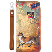 Shop vegan brand LAVISHY's cool vegan/faux leather wristlet wallet with vintage style Canadian fox illustration on the Canadian map background print. It's a great for everyday use & gift for traveler. Wholesale available at www.lavishy.com with other unique fashion accessories/souvenirs.