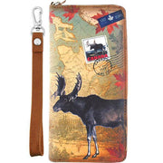 Online shopping for vegan brand LAVISHY's cool vegan/faux leather wristlet wallet with vintage style Canadian moose illustration on the Canadian map background print. It's a great for everyday use & gift for traveler. Wholesale available at www.lavishy.com with other unique fashion accessories/souvenirs.