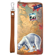 Shop vegan brand LAVISHY's cool vegan/faux leather wristlet wallet with vintage style Canadian polar polar bear illustration on the Canadian map background print. It's a great for everyday use & gift for traveler. Wholesale available at www.lavishy.com with other unique fashion accessories/souvenirs.