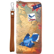 Shop vegan brand LAVISHY's cool vegan/faux leather wristlet wallet with vintage style Canadian blue jay illustration on the Canadian map background print. It's a great for everyday use & gift for traveler. Wholesale available at www.lavishy.com with other unique fashion accessories/souvenirs.