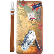 Shop vegan brand LAVISHY's cool vegan/faux leather wristlet wallet with vintage style Canadian snowy owl illustration on the Canadian map background print. It's a great for everyday use & gift for traveler. Wholesale available at www.lavishy.com with other unique fashion accessories/souvenirs.