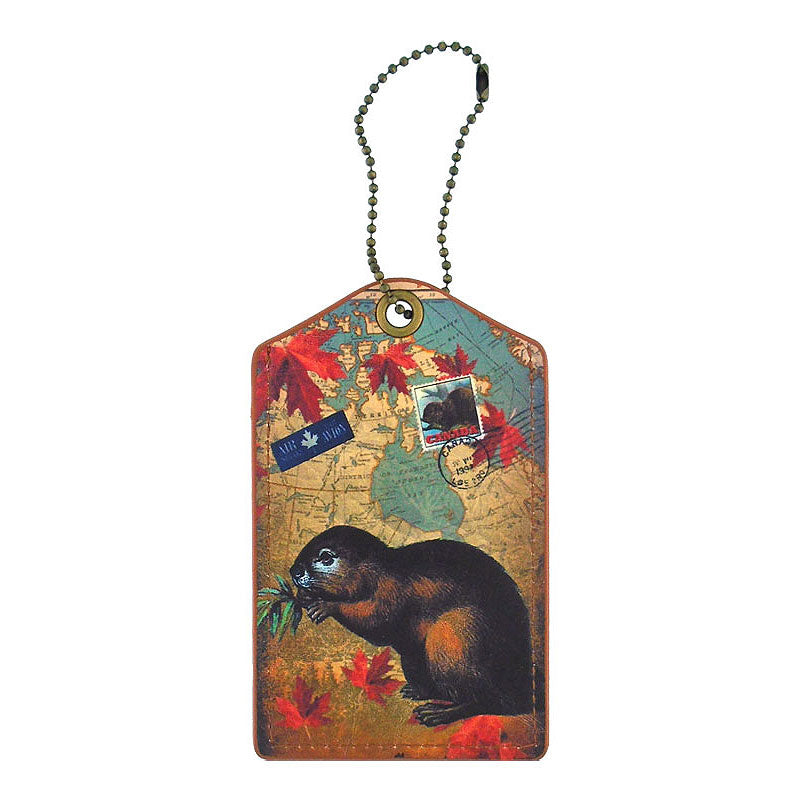 Shop vegan brand LAVISHY's cool vegan/faux leather luggage tag with vintage style Canadian beaver illustration on the Canadian map background print. It's a great traveler or as a gift. Wholesale available at www.lavishy.com with other unique fashion/travel accessories/souvenirs.