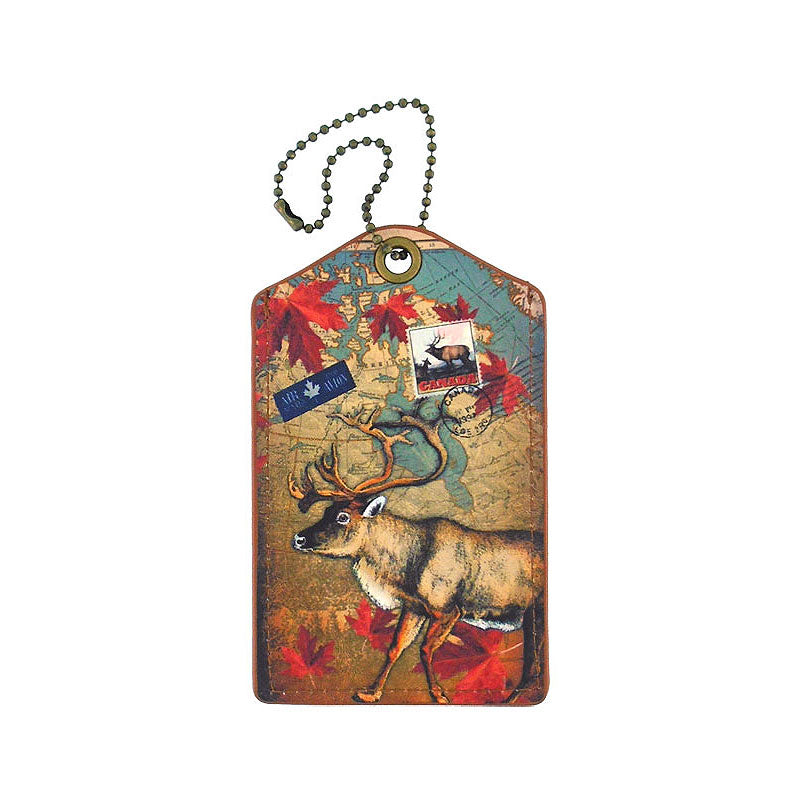 Shop vegan brand LAVISHY's cool vegan/faux leather luggage tag with vintage style Canadian elk illustration on the Canadian map background print. It's a great traveler or as a gift. Wholesale available at www.lavishy.com with other unique fashion/travel accessories/souvenirs.
