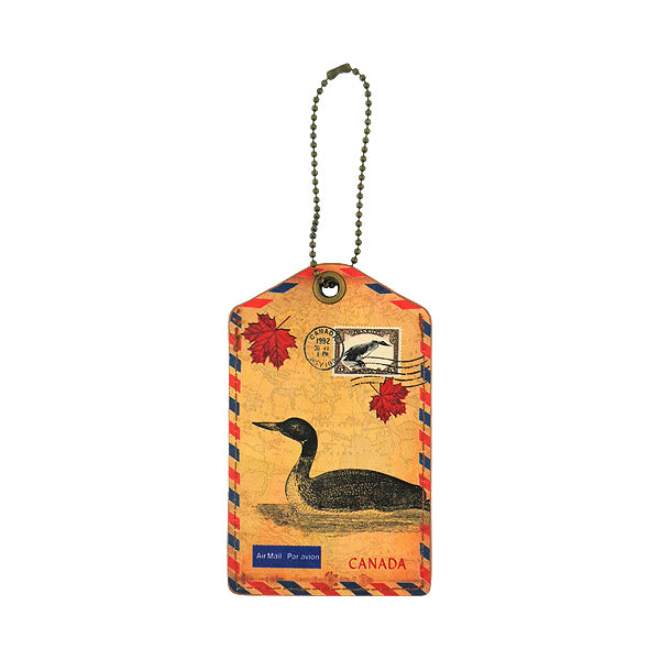 Online shopping for vegan brand LAVISHY's cool vegan/faux leather luggage tag with vintage style Canadian loom illustration on the Canadian map background print. It's a great traveler or as a gift. Wholesale available at www.lavishy.com with other unique fashion/travel accessories/souvenirs.