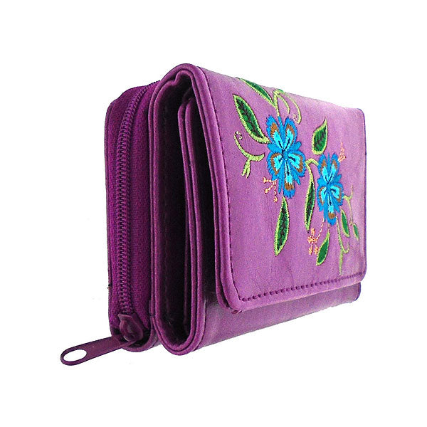 Online shopping for vegan brand LAVISHY's Eco-friendly, ethically made, cruelty free small tri-fold embroidered wallet for women features delightful carnation flower embroidery motif. Wholesale at www.lavishy.com for retailers like gift shop, clothing & fashion accessories boutique & book store worldwide since 2001.