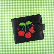 Online shopping for vegan brand LAVISHY's fun & Eco-friendly cherry applique vegan medium bifold wallet. Great for everyday use, cool gift for family & friends. Wholesale at www.lavishy.com for gift shops, clothing & fashion accessories boutiques, book stores in Canada, USA & worldwide since 2001.