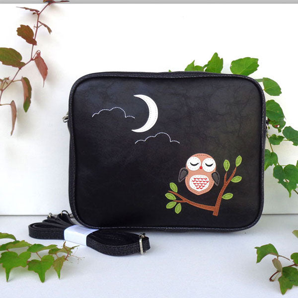 Shop PETA approved vegan brand LAVISHY's sleepy owl applique vegan/faux leather cross body bag / toiletry bag. Wholesale available at http://www.lavishy.com/lookbook/lavishy-adora-collection-look-book.htm