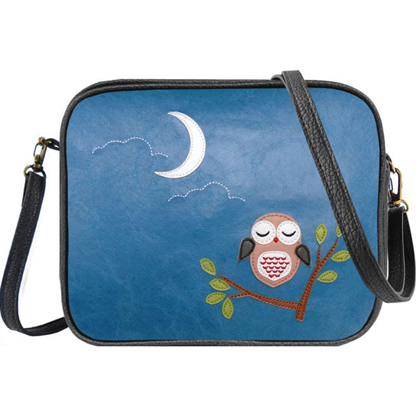 Shop vegan brand LAVISHY's sleepy owl applique vegan/faux leather cross body bag / toiletry bag. Wholesale available at http://www.lavishy.com/lookbook/lavishy-adora-collection-look-book.htm