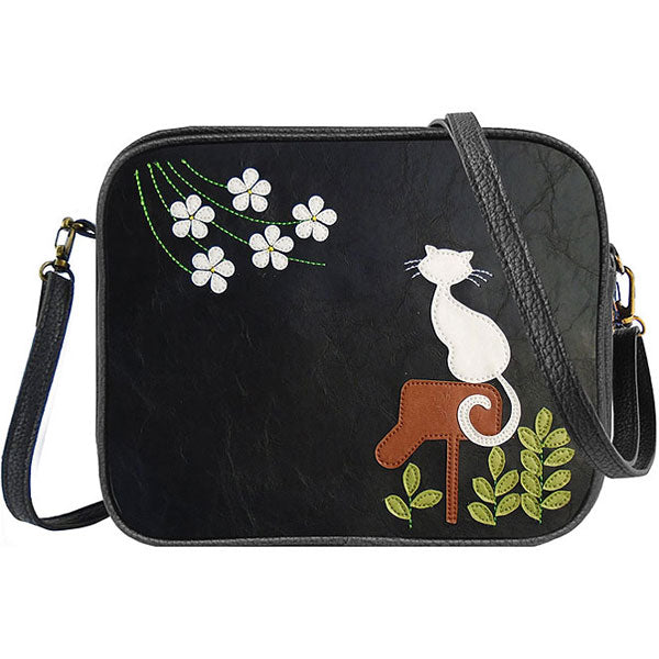 Shop vegan brand LAVISHY's cat on mailbox applique vegan/faux leather cross body bag / toiletry bag. Wholesale available at http://www.lavishy.com/lookbook/lavishy-adora-collection-look-book.htm