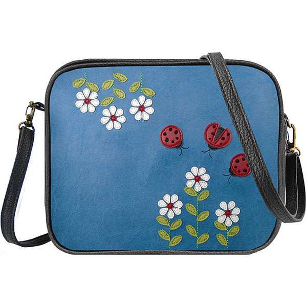 Shop PETA approved vegan brand LAVISHY's ladybug & daisy flower applique vegan/faux leather cross body bag / toiletry bag. Wholesale available at http://www.lavishy.com/lookbook/lavishy-adora-collection-look-book.htm